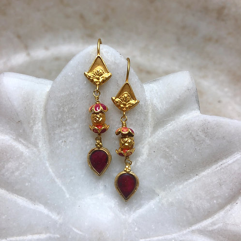 Antique glass and enamel gold earrings