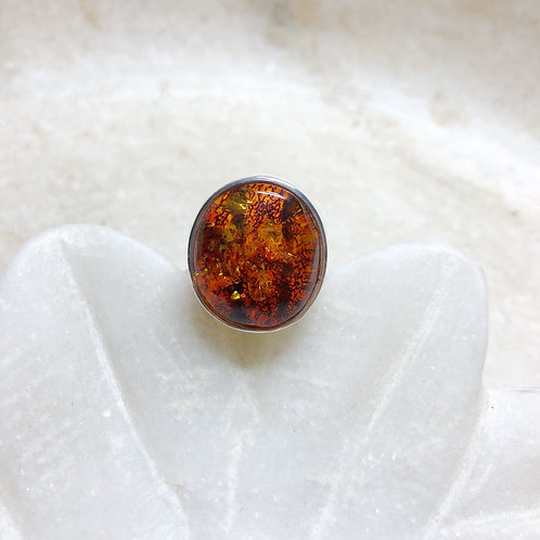 Fairy lights dark amber silver ring