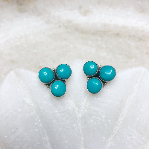 Turquoise cluster silver stud earrings