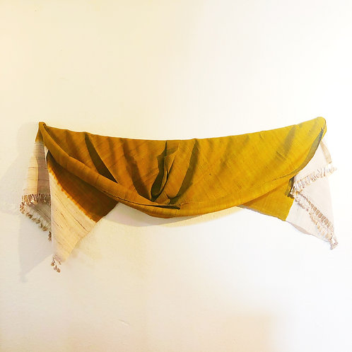 Mustard yellow raw silk shawl