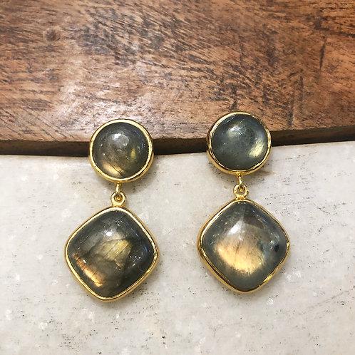 Green labradorite gold post earrings
