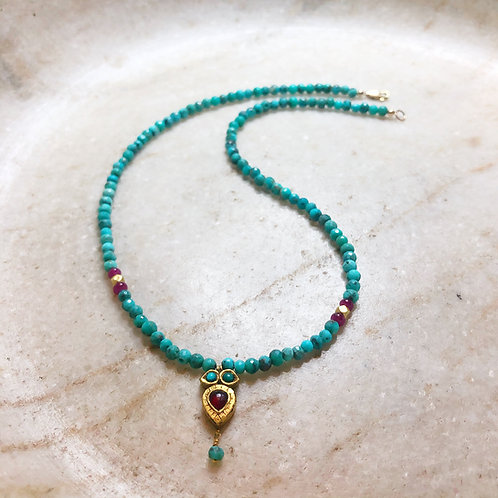 Turquoise ruby gold necklace