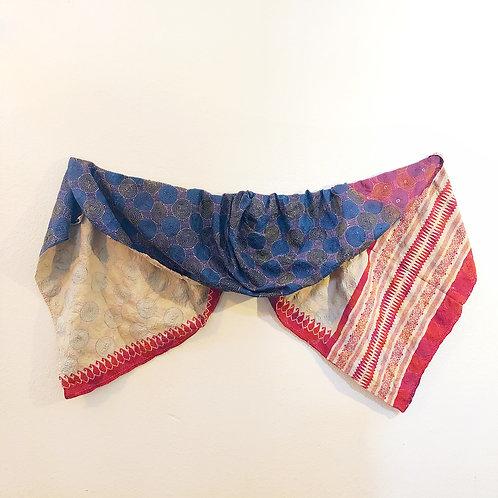 Blue with red border kantha silk circle stitch shawl