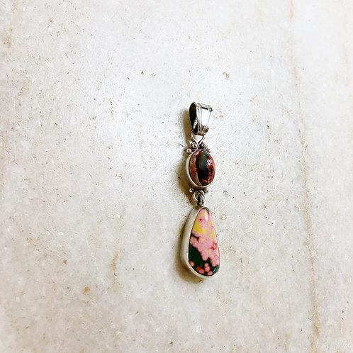 Fire opal with ocean jasper silver pendant