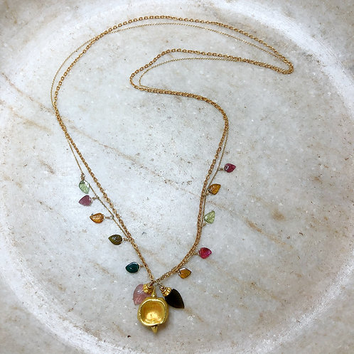 Tourmaline leaves gold necklace