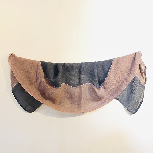 Pink and gray Latvian linen long scarf