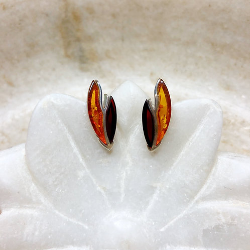 Amber flames silver stud earrings