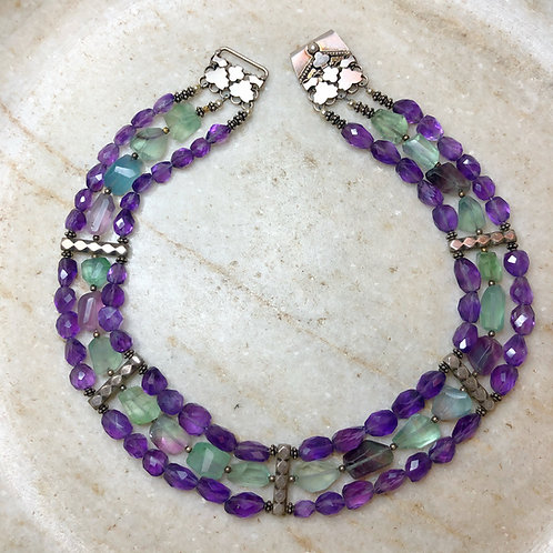 Fluorite and amethyst silver necklace