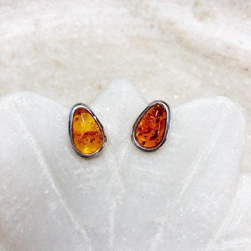 Amber silver stud earrings