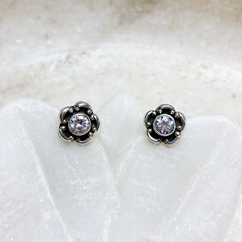 Zircon flowers silver stud earrings