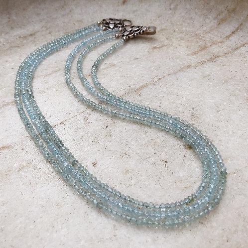 Aquamarine triple strand silver necklace