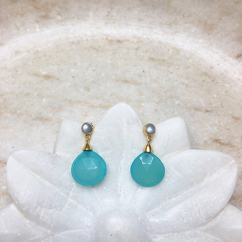 Chalcedony drops with moonstone gold post earrings