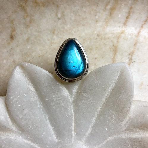 Labradorite teardrop silver ring