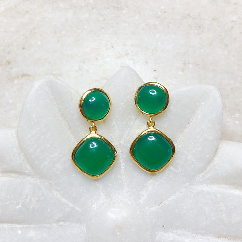 Green onyx gold post earrings