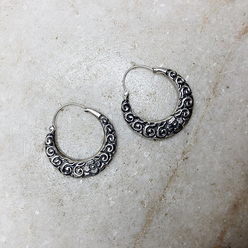 Medium Nepali silver hoop earrings with flowers