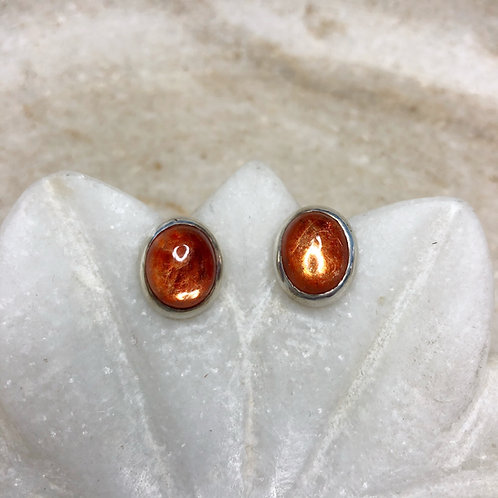 Large sunstone silver stud earrings