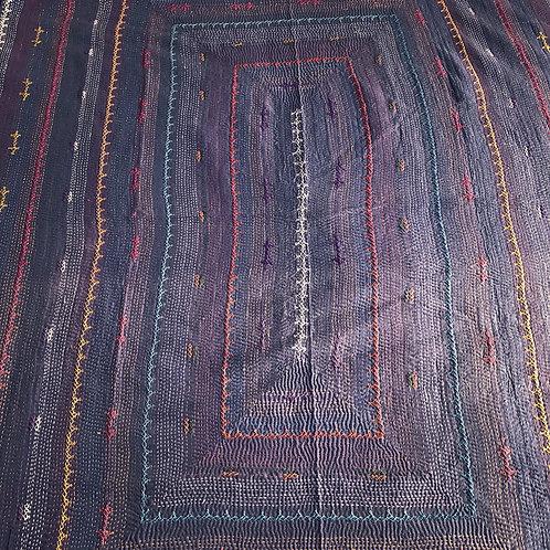 Lilac blue antique kantha bedspread