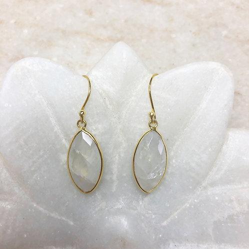 Moonstone in gold earrings
