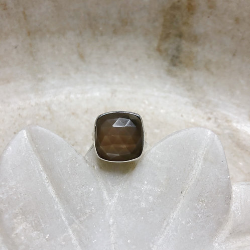 Brown moonstone silver ring