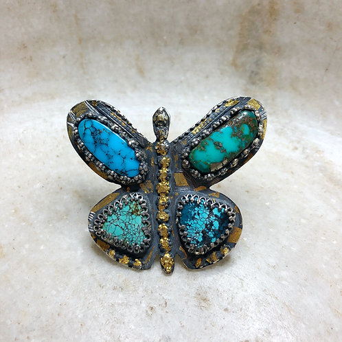 Butterfly silver gold ring