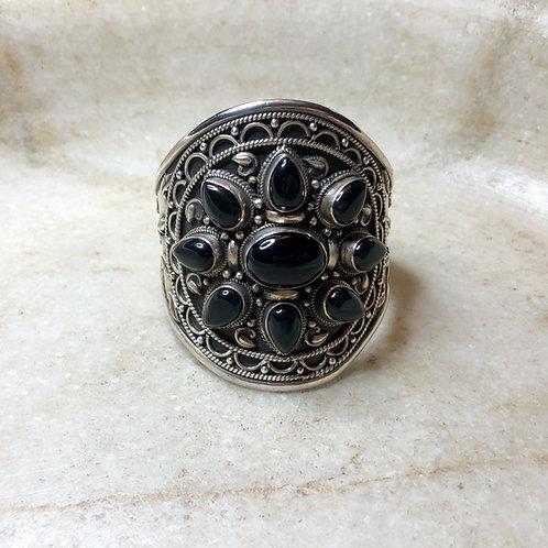 Black onyx silver cuff bracelet