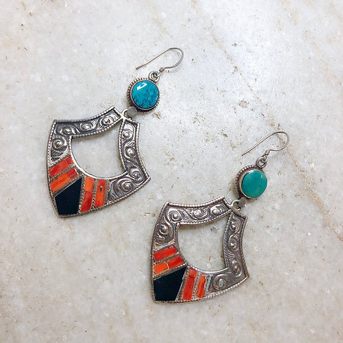 Tribal silver earrings with coral, onyx, and turquoise