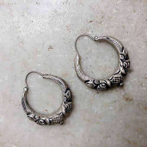 Small Nepali tribal silver hoop earrings