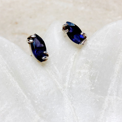 Iolite silver stud earrings