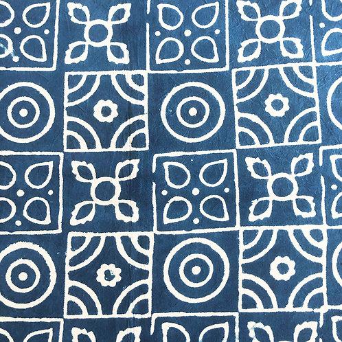Indigo patterned cotton tapestry