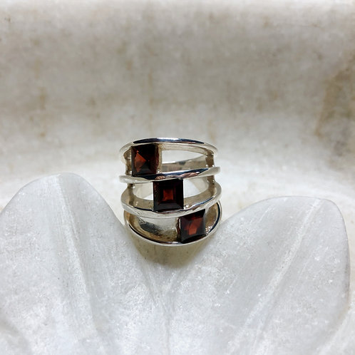 Triple garnet silver ring