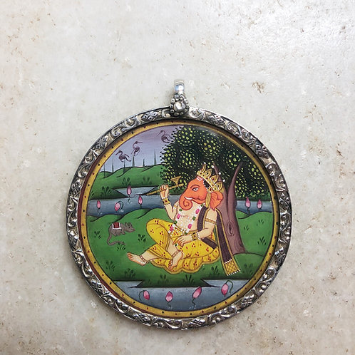 Ganesh relaxing under tree silver pendant
