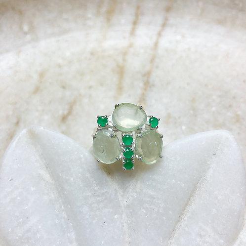 Prehnite butterfly silver ring