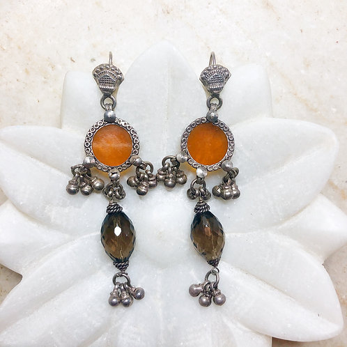 Glass tribal silver earrings with smoky topaz