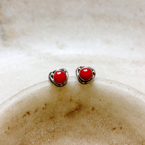 Coral silver stud earrings