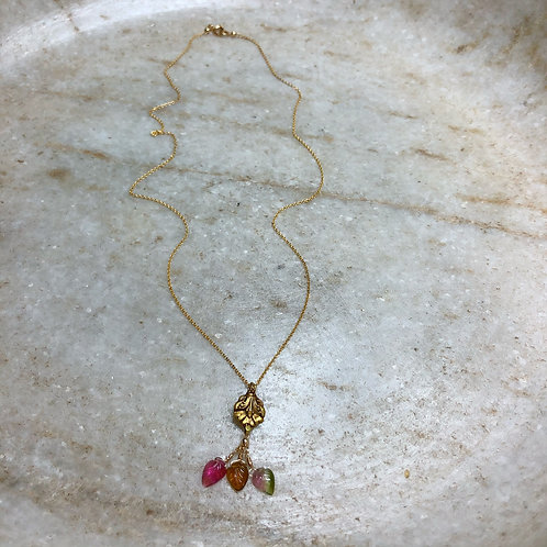 Tourmaline leaf and gold pendant necklace