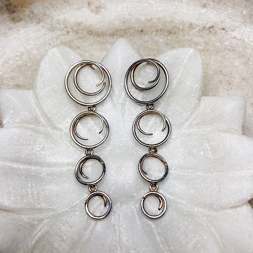 Cascading curls silver post earrings