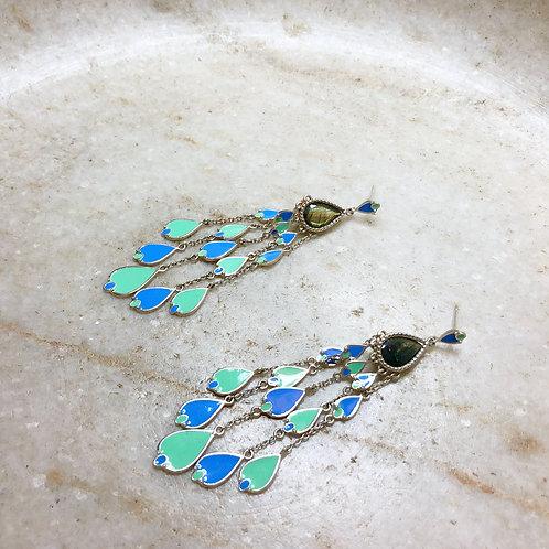 Strings of enameled silver post earrings