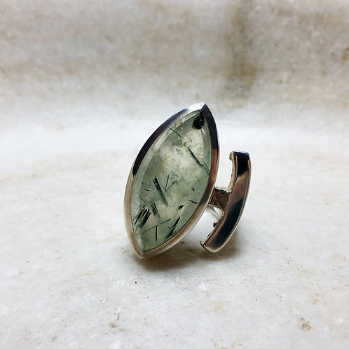 Long prehnite silver ring