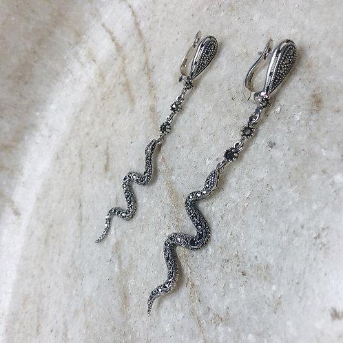 Marcasite serpent silver earrings