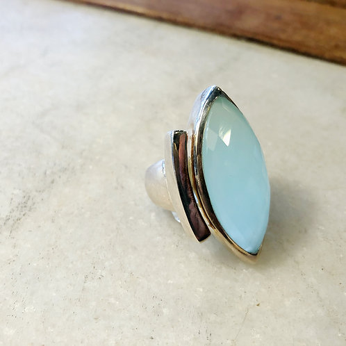 Long faceted chalcedony silver ring