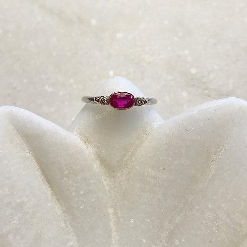 Ruby diamond silver gold ring