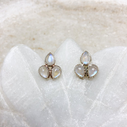 Moonstone leaves silver stud earrings