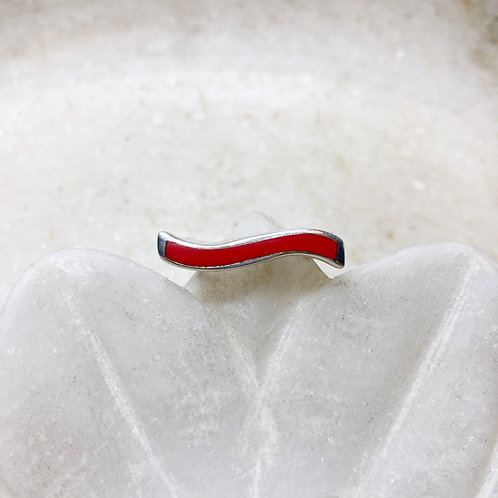 Modern coral silver ring