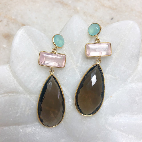 Smoky quartz with rose quartz and chalcedony gold post earrings
