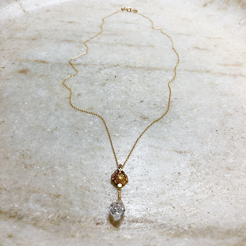 Herkimer diamond gold pendant necklace