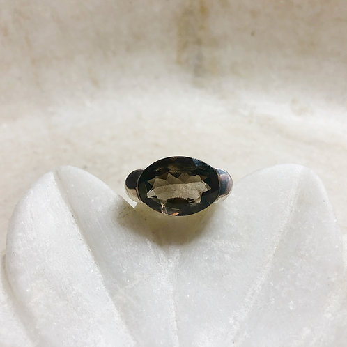 Sideways smoky quartz silver ring