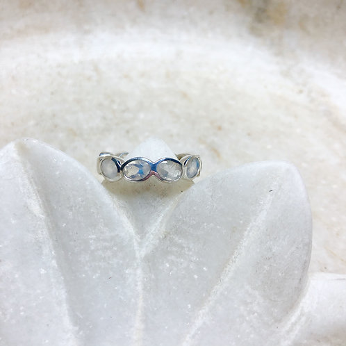 Band of moonstones silver ring