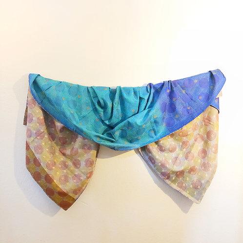 Multi color kantha silk circle stitch shawl