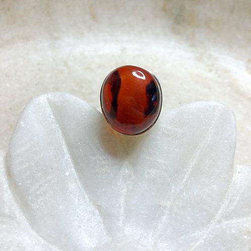 Round cherry amber silver ring