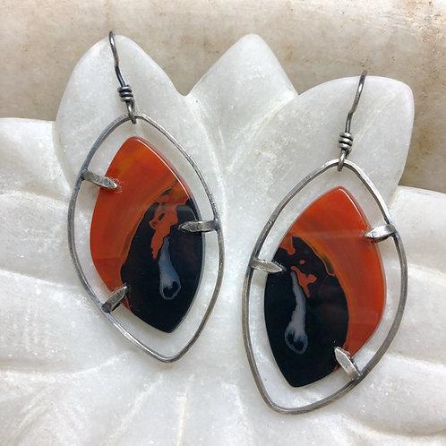 Brazilian agate silver earrings